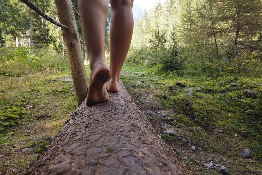 Camminare scalzi nel bosco